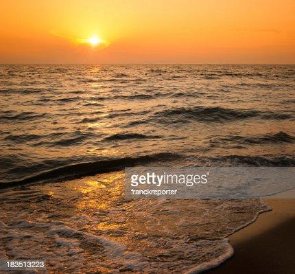 Dusk along the beach seaside