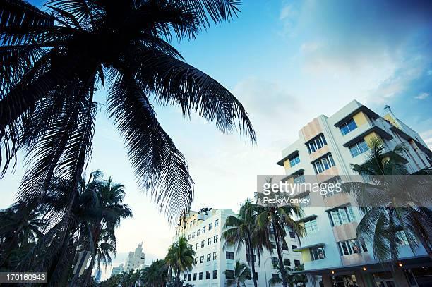 Abenddämmerung Wasserfall am Ocean Drive in Miami Beach