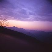 dusk from peak of mountain takao