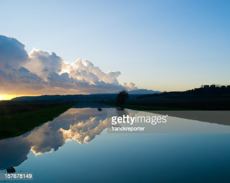 Dusk in river  - Reflection on the water