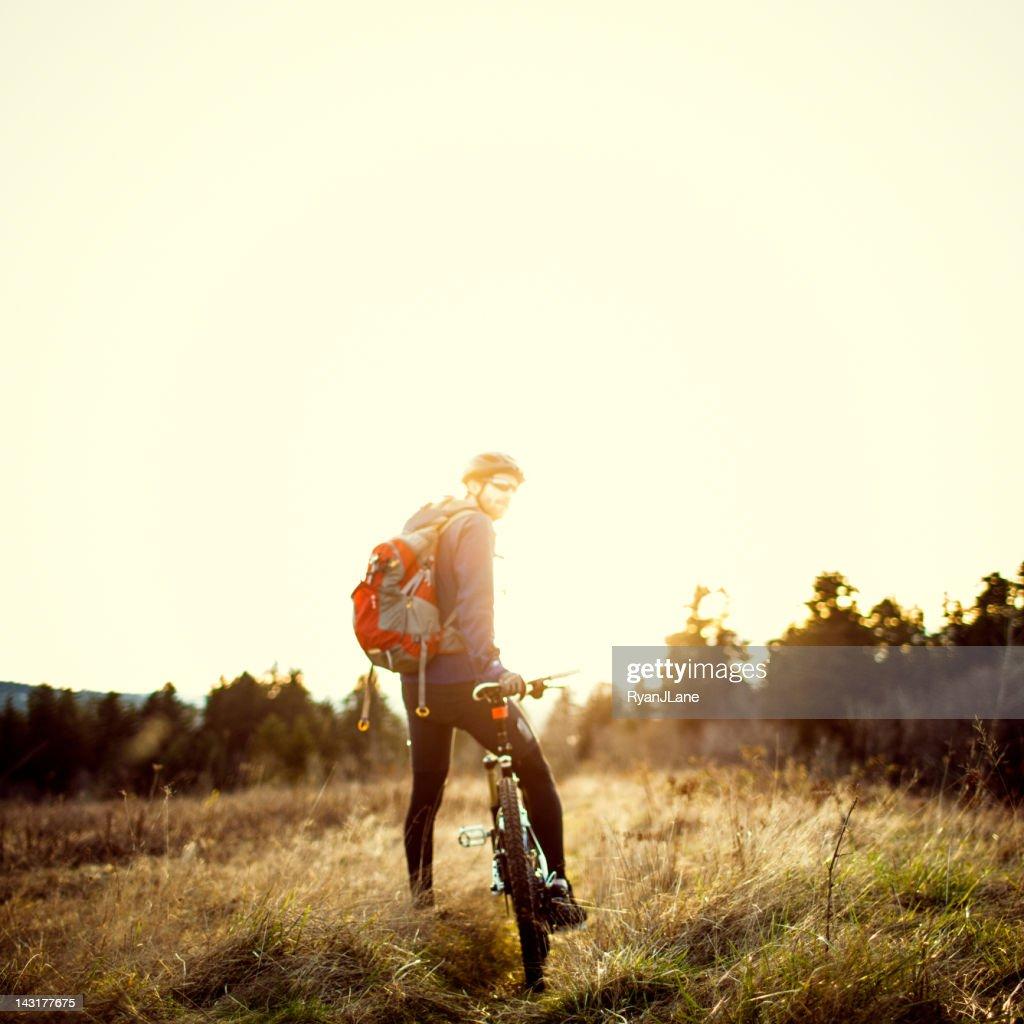 Dusk Mountain Bike Trail Ride : Stock Photo