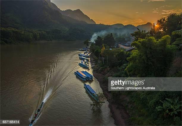 Dusk on the Nam Ou river, Nong Khiaow, province of Luang Prabang, Laos