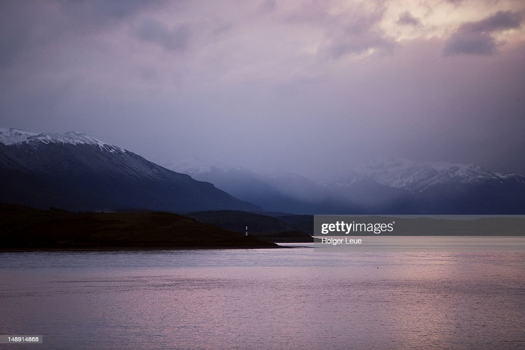 Dusk over Beagle Channel. : Stock Photo