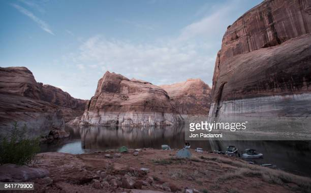 Dusk Setting on a campsite within Escalante Canyon in Lake Powell