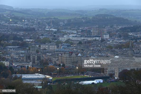 Dusk settles on the stadium as seen from the North Road area of the city during the LV=Cup match between Bath Rugby and London Welsh at the...