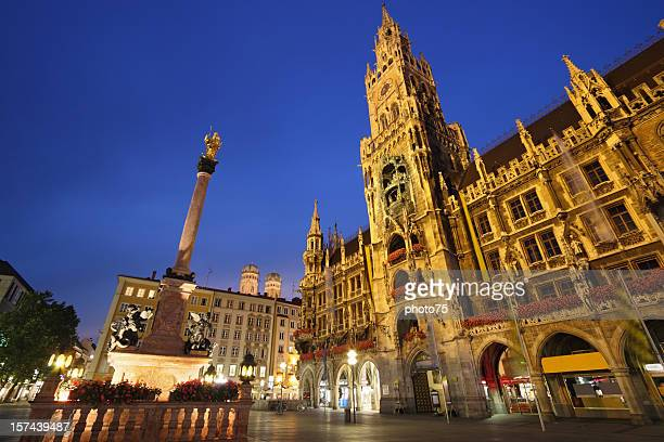 Dusk shot of Marienplatz Square in Munich