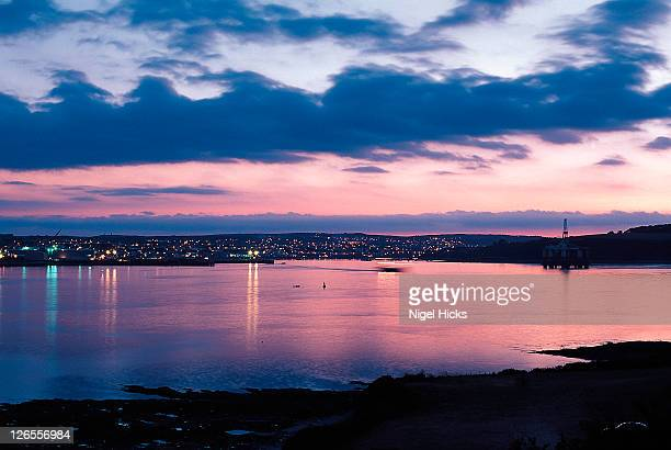 A dusk view of Carrick Roads and Falmouth.