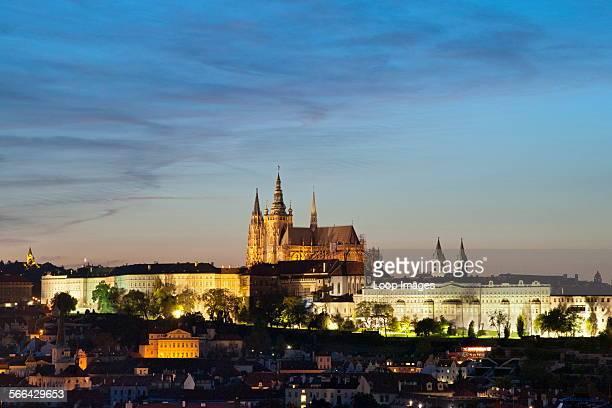Dusk view of Prague Castle in Prague