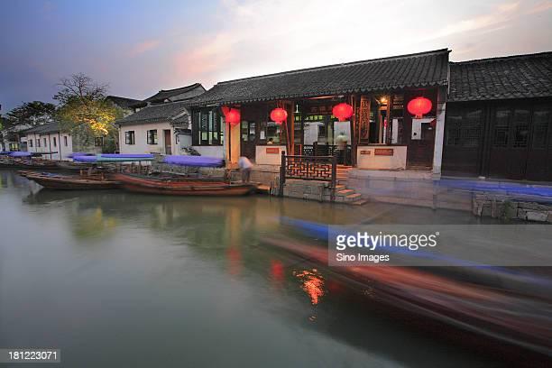 Dusk, wooden boats, river,traditional architectures, Zhouzhuang, Suzhou