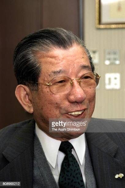 Duskin President Shigeharu Komai speaks during the Asahi Shimbun interview at the company headquarters on March 28 1994 in Suita Osaka Japan