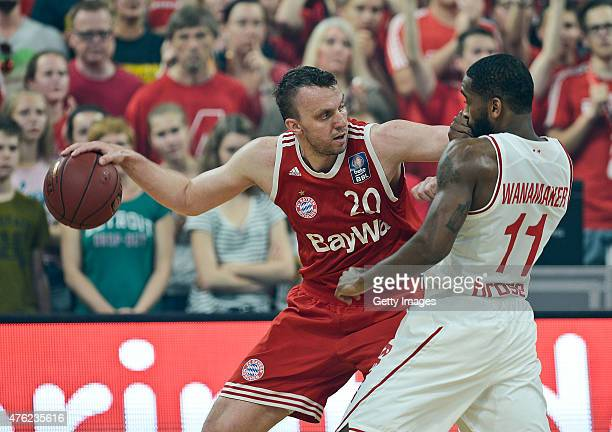 Dusko Savanovic of FC Bayern Muenchen drives against Bradley Wanamaker of Brose Baskets Bamberg during Game One of the 2015 BBL Finals at Brose Arena...