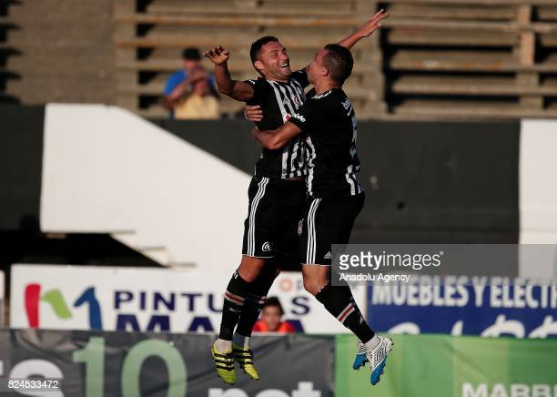 Dusko Tosic and Pepe of Besiktas celebrate after scoring a goal during a friendly match between Besiktas and Real Betis as part of the new season...