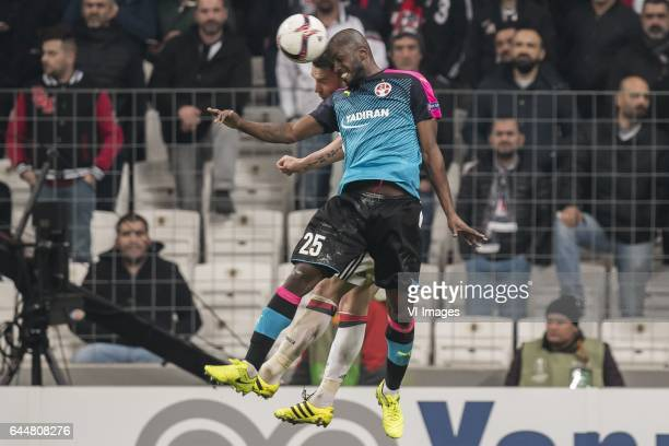 Dusko Tosic of Besiktas JK William Soares of Hapoel Beer Shevaduring the UEFA Europa League round of 16 match between Besiktas JK and Hapoel Beer...
