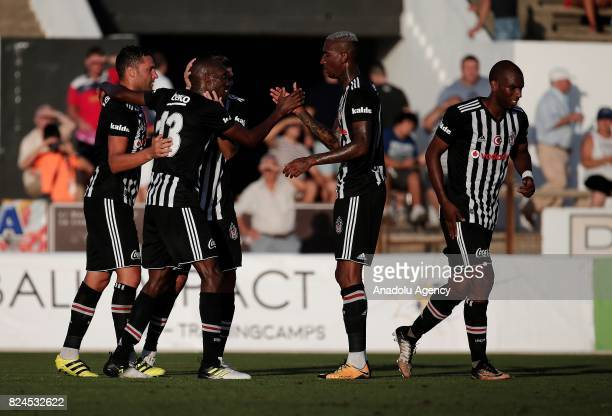 Dusko Tosic Ryan Babel Atiba Hutchinson Anderson Talisca and Pepe of Besiktas celebrate after scoring a goal during a friendly match between Besiktas...