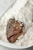 Dusky grouper fish in sea salt to make a salt crust