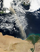 February 23, 2011 09/14/2009 A dust plume stretches across the Mediterranean Sea, from just west of the Nile Delta to just east of Kriti (Crete). The dust plume extends hundreds of kilometers across t