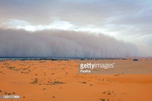 Dust Storm Approaching Merzouga Settlement