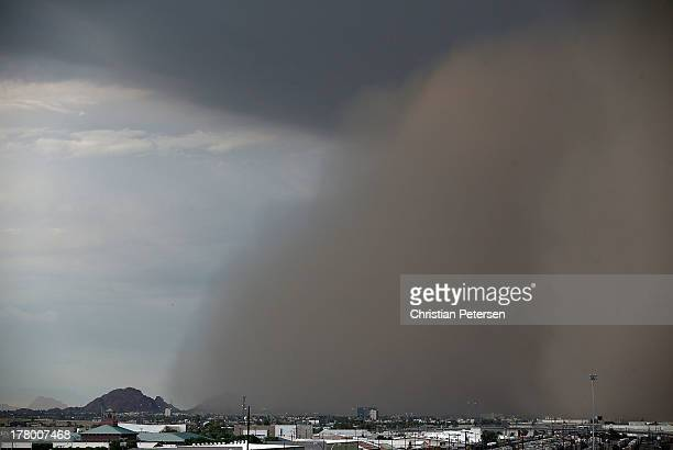 A dust storm aproaches Phoenix before the MLB game between the San Diego Padres and the Arizona Diamondbacks on August 26 2013 in Phoenix Arizona