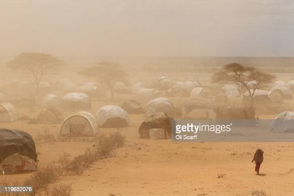 A dust storm blows as newly arrived Somalian refugees settle on the edge of the Dagahaley refugee camp which makes up part of the giant Dadaab...