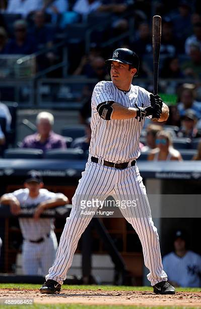 Dustin Ackley of the New York Yankees at bat against the Toronto Blue Jays at Yankee Stadium on September 13 2015 in the Bronx borough of New York...