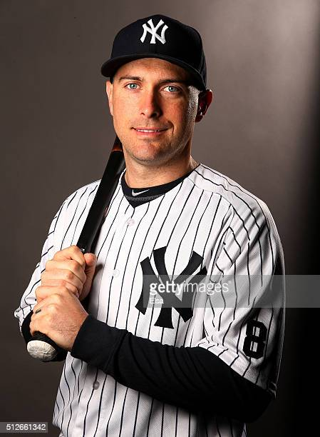Dustin Ackley of the New York Yankees poses for a portrait on February 27 2016 at George M Steinbrenner Stadium in Tampa Florida