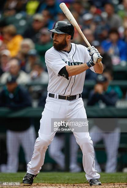 Dustin Ackley of the Seattle Mariners bats against the Houston Astros at Safeco Field on April 23 2014 in Seattle Washington