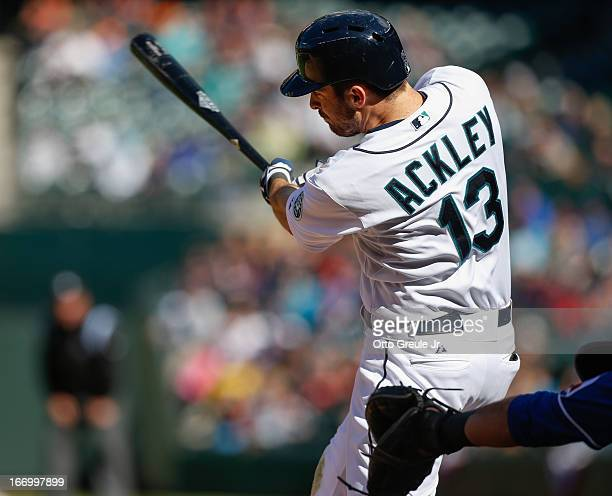 Dustin Ackley of the Seattle Mariners bats against the Texas Rangers at Safeco Field on April 14 2013 in Seattle Washington