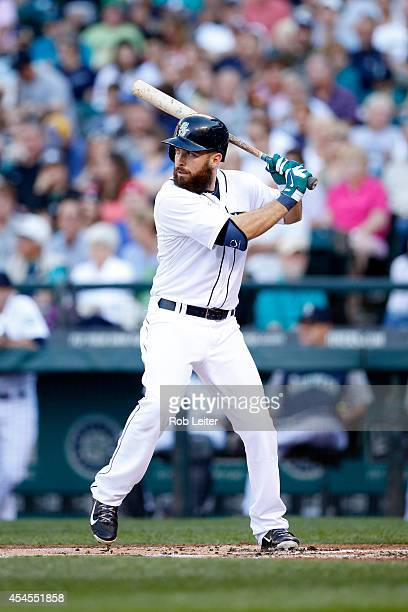 Dustin Ackley of the Seattle Mariners bats during the game against the Chicago White Sox at Safeco Field on August 9 2014 in Seattle Washington The...