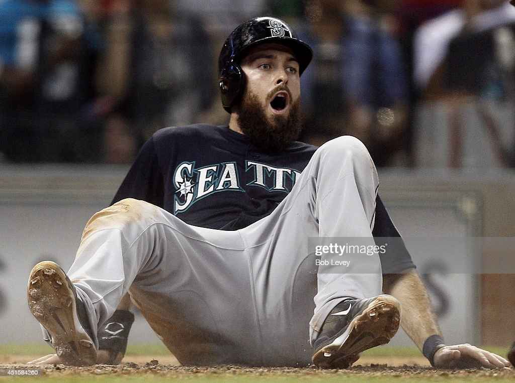 <a gi-track='captionPersonalityLinkClicked' href=/galleries/search?phrase=Dustin+Ackley&family=editorial&specificpeople=4352278 ng-click='$event.stopPropagation()'>Dustin Ackley</a> #13 of the Seattle Mariners reacts after being called out at home in the sixth inning against the Houston Astros at Minute Maid Park on July 1, 2014 in Houston, Texas.