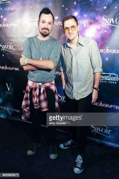 Dustin Belt and Kendall Schmidt of Heffron Drive attend the 'Future Disruptors' Premiere at The Comedy Store on June 25 2017 in Los Angeles California
