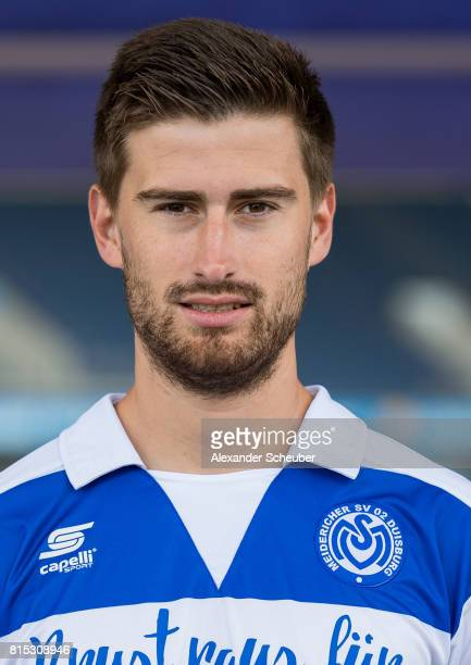 Dustin Bomheuer of MSV Duisburg poses during the team presentation at SchauinslandReisenArena on July 15 2017 in Duisburg Germany