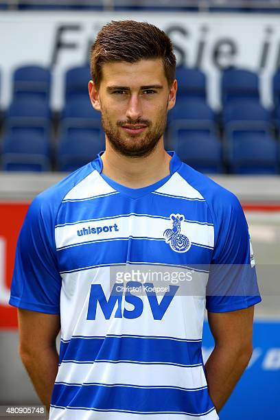 Dustin Bomheuer poses during the team presenattion of MSV Duisburg at SchauinslandReisenArena on July 16 2015 in Duisburg Germany