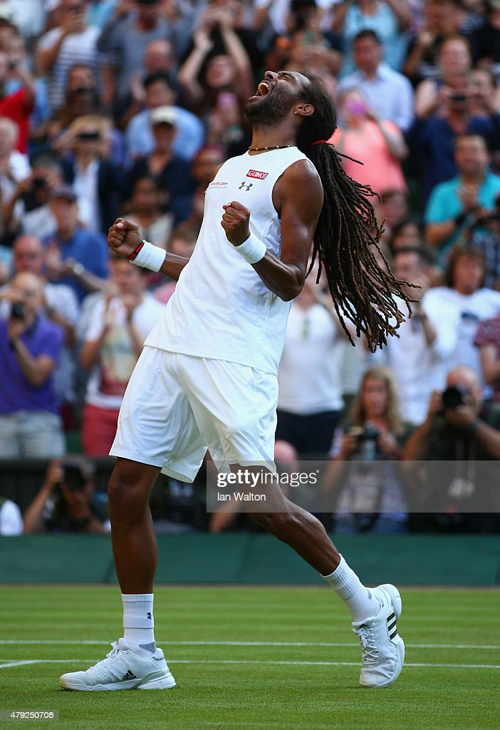 Dustin Brown of Germany celebrates winning his Gentlemens Singles Second Round match against Rafael Nadal of Spain during day four of the Wimbledon Lawn Tennis Championships at the All England Lawn Tennis and Croquet Club on July 2, 2015 in London, England.