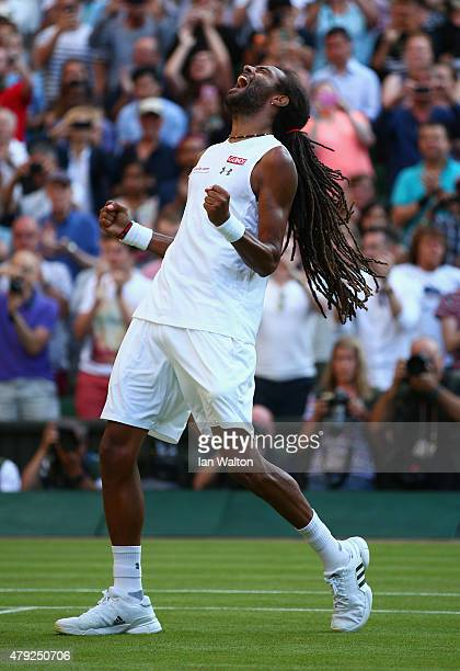 Dustin Brown of Germany celebrates winning his Gentlemens Singles Second Round match against Rafael Nadal of Spain during day four of the Wimbledon...