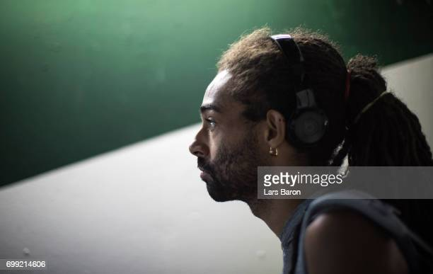 Dustin Brown of Germany is seen before his match against Roberto Bautista Agut of Spain during Day 5 of the Gerry Weber Open 2017 at Gerry Weber...