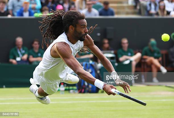 Dustin Brown of Germany leaps to play a forehand during the Men's Singles second round match against Nick Kyrgios of Australia on day five of the...