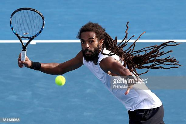 Dustin Brown of Germany makes a return to Marcos Baghdatis of Cyprus in their mens singles match on day 10 of the ASB Classic on January 11 2017 in...