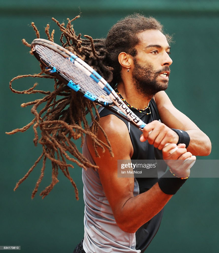 <a gi-track='captionPersonalityLinkClicked' href=/galleries/search?phrase=Dustin+Brown+-+Tennis+Player&family=editorial&specificpeople=7062090 ng-click='$event.stopPropagation()'>Dustin Brown</a> of Germany plays a shot during the Men's Singles Second Round match against Jack Sock of United States on Day Four of the 2016 French Open at Roland Garros on May 25, 2016 in Paris, France .
