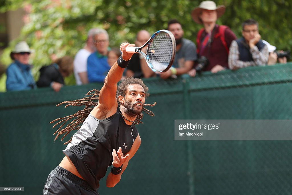 <a gi-track='captionPersonalityLinkClicked' href=/galleries/search?phrase=Dustin+Brown+-+Tennisspieler&family=editorial&specificpeople=7062090 ng-click='$event.stopPropagation()'>Dustin Brown</a> of Germany plays a shot during the Men's Singles Second Round match against Jack Sock of United States on Day Four of the 2016 French Open at Roland Garros on May 25, 2016 in Paris, France .