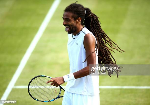 Dustin Brown of Germany reacts during his match against Renzo Olivo of Argentina day five of The Boodles Tennis Event at Stoke Park on July 1 2017 in...