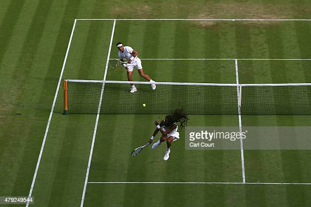 Dustin Brown of Germany reacts to a shot in his Gentlemens Singles Second Round match against Rafael Nadal of Spain during day four of the Wimbledon...