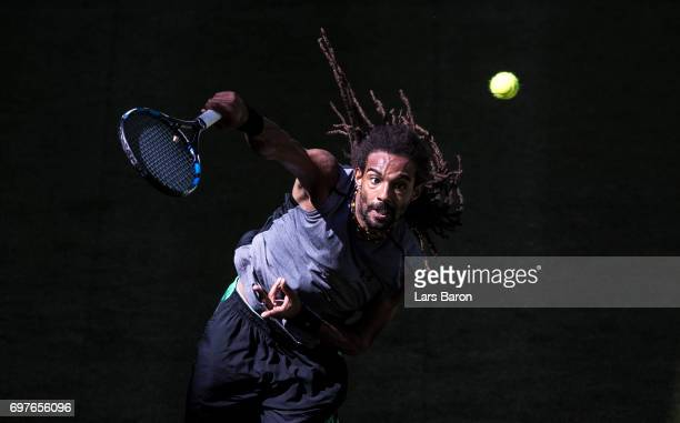 Dustin Brown of Germany serves during his match against Vasek Pospisil of Canada during Day 3 of the Gerry Weber Open 2017 at on June 19 2017 in...