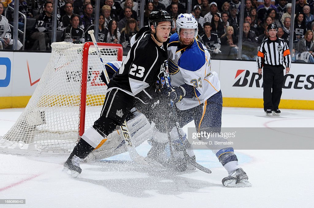 Dustin Brown #23 of the Los Angeles Kings battles for position against Jordan Leoplod #33 of the St. Louis Blues in Game Three of the Western Conference Quarterfinals during the 2013 NHL Stanley Cup Playoffs at Staples Center on May 4, 2013 in Los Angeles, California.