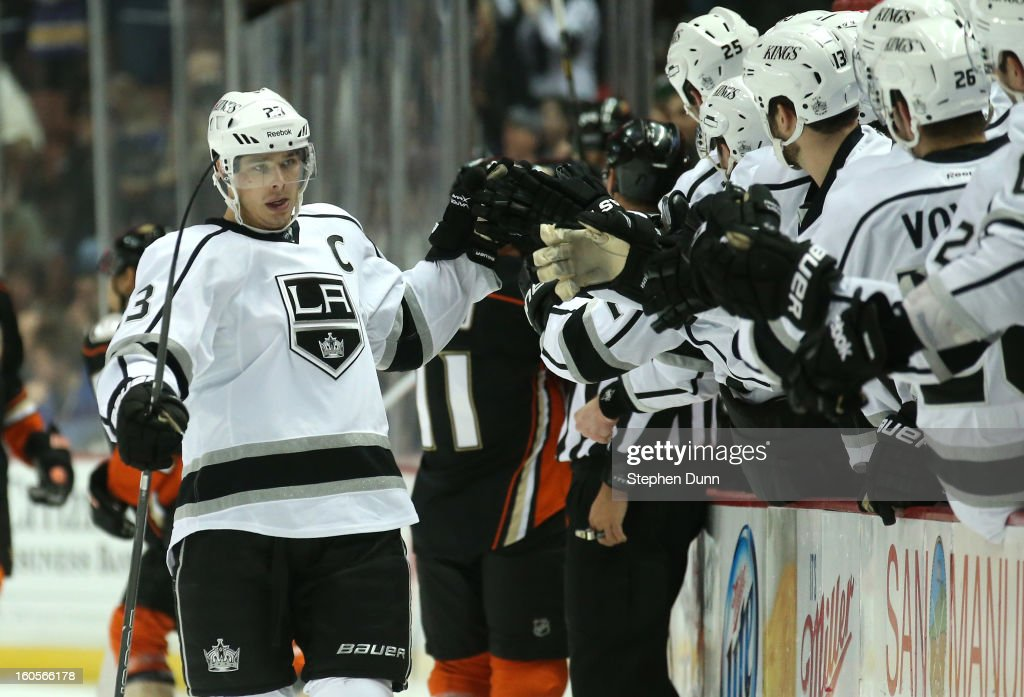 Dustin Brown #23 of the Los Angeles Kings celebrates after scoring a power play goal in the first period against the Anaheim Ducks at Honda Center on February 2, 2013 in Anaheim, California.