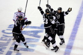 Dustin Brown of the Los Angeles Kings celebrates his double overtime game winner as the Kings defeat the New York Rangers 54 during Game Two of the...