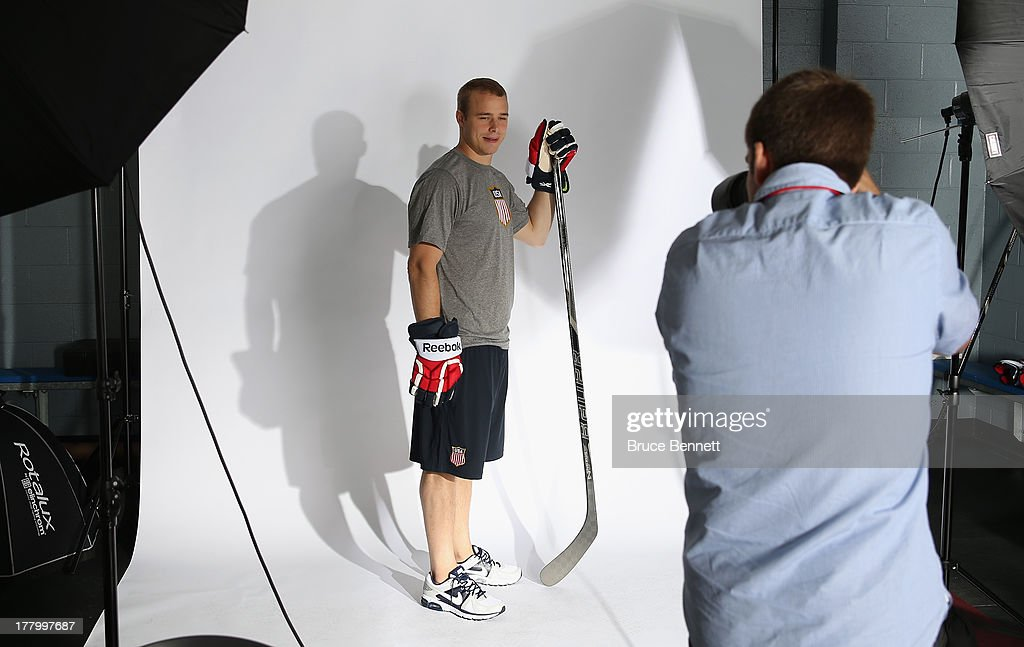 Dustin Brown of the Los Angeles Kings poses after being named a candidate for the 2014 USA Hockey Olympic Team at the Kettler Capitals Iceplex on August 26, 2013 in Arlington, Virginia.