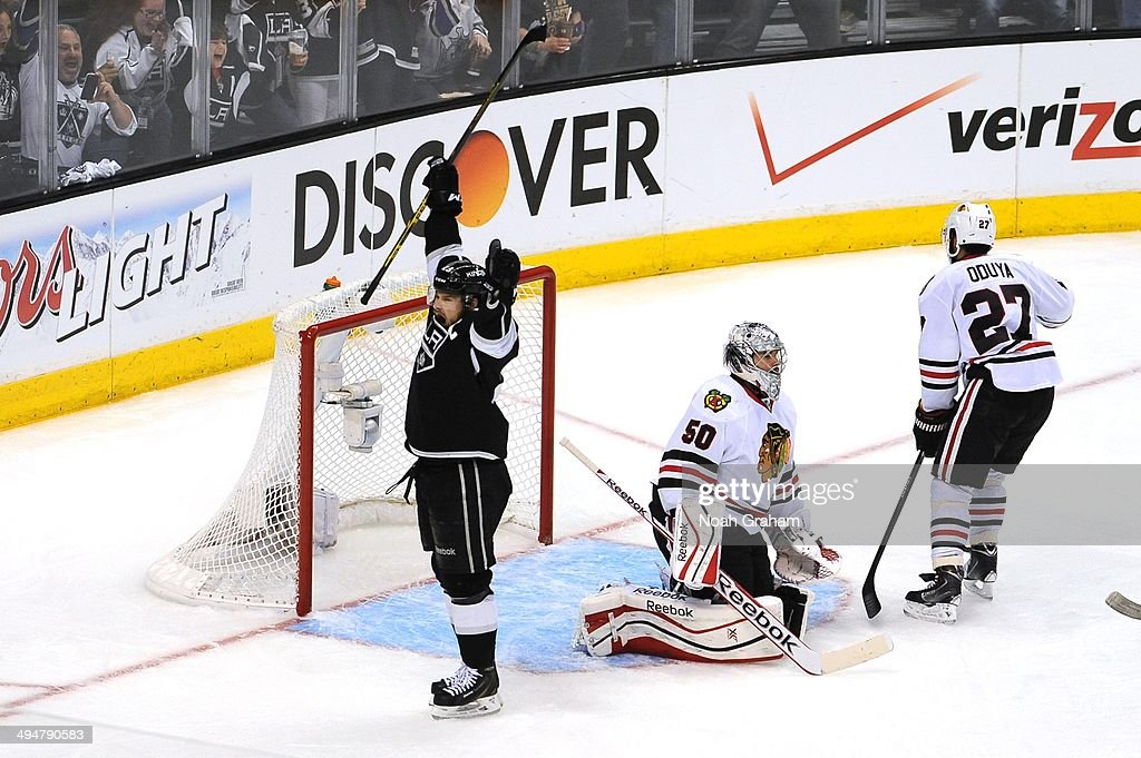 Dustin Brown #23 of the Los Angeles Kings reacts after a goal against the Chicago Blackhawks in Game Six of the Western Conference Final during the 2014 Stanley Cup Playoffs at Staples Center on May 30, 2014 in Los Angeles, California.