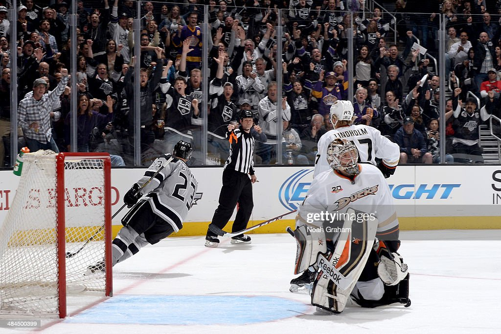 Dustin Brown #23 of the Los Angeles Kings reacts after scoring a goal against the Anaheim Ducks at Staples Center on April 12, 2014 in Los Angeles, California.