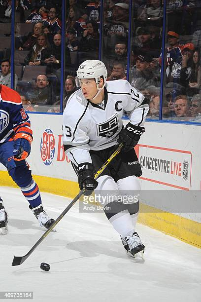 Dustin Brown of the Los Angeles Kings skates on the ice during the game against the Edmonton Oilers on April 7 2015 at Rexall Place in Edmonton...
