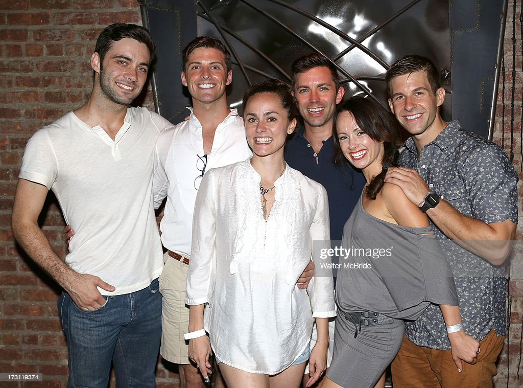 Dustin Clayton, Callan Bergmann, Ashlee Dupre, Mark Myars, Sarah O'Gleby and Charlie Williams attend the closing night party for 'Silence! The Musical' at Elektra Theatre on July 7, 2013 in New York City.